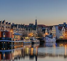 Twilight down at the Shore, Edinburgh by Miles Gray