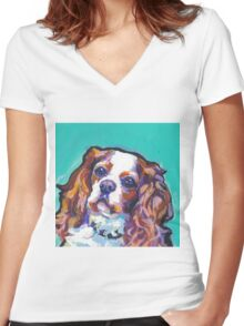 cavalier king charles spaniel Dog Bright colorful pop dog art Women's Fitted V-Neck T-Shirt