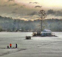 Warm Glow on a Cool Scene - Ice Fishing on Newfound Lake by Wayne King