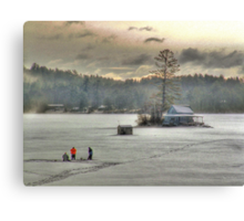 Warm Glow on a Cool Scene - Ice Fishing on Newfound Lake Canvas Print