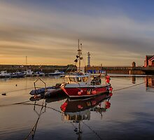 Newhaven Fishing Boat and Lighthouse by Miles Gray