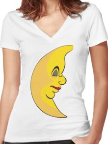 Serious sleeping moon Women's Fitted V-Neck T-Shirt