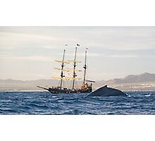 Whale and Ship Photographic Print