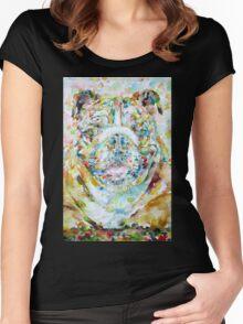 BULLDOG - watercolor portrait Women's Fitted Scoop T-Shirt