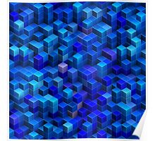 Blue stacked 3D cubes abstract geometric pattern Poster