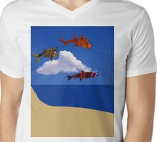 Flying fish with Single Cloud   Mens V-Neck T-Shirt