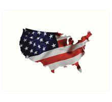USA United States of America Flag Map Art Print