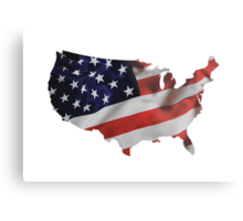 USA United States of America Flag Map Metal Print