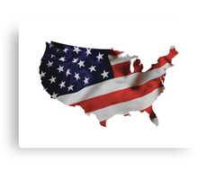USA United States of America Flag Map Canvas Print