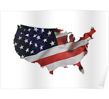 USA United States of America Flag Map Poster