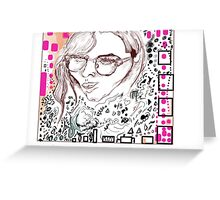 women with doodles Greeting Card