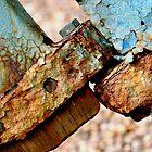 Rusty bolt holding rudder. by Karen  Betts