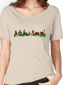 Watercolor art print of the Skyline of Liverpool Women's Relaxed Fit T-Shirt