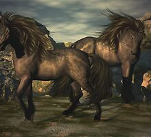 Canyon Horses by Lisa  Weber