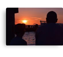 a father and son on the pier  Canvas Print