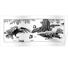 Squirrels Playing Tricks - crows assaulted Poster
