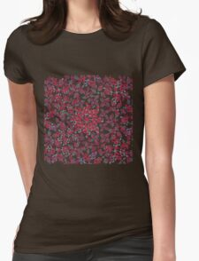 repeating curly red plant style pattern Womens Fitted T-Shirt