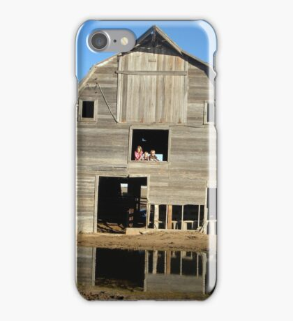 Kids with the moon over the barn in the daytime iPhone Case/Skin