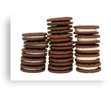 Chocolate Biscuits in Three Piles Canvas Print
