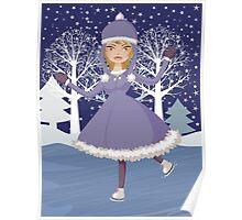 Winter skating girl Poster