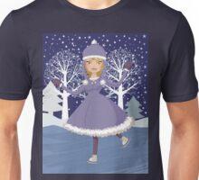 Winter skating girl Unisex T-Shirt