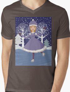 Winter skating girl Mens V-Neck T-Shirt