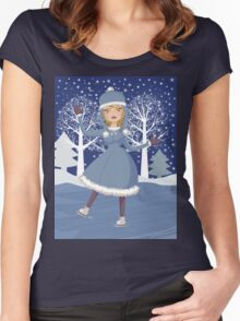 Winter skating girl 3 Women's Fitted Scoop T-Shirt