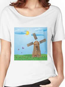 Windmill on meadow Women's Relaxed Fit T-Shirt