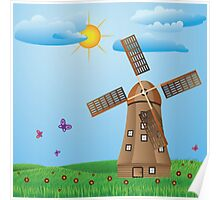 Windmill on meadow Poster