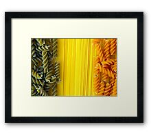 Raw Pasta Spaghetti and Fusilli Framed Print