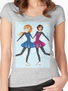 Two female figure skaters Women's Fitted Scoop T-Shirt