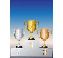 Trophy Cup on Podium Photographic Print