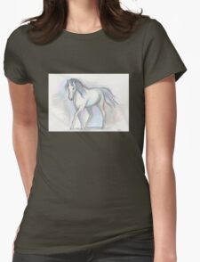 White Pony Womens Fitted T-Shirt