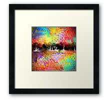 Abstract Landscape in Bright Colors Framed Print