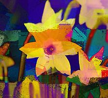 Chalk Blocked Daffodils by Darlene Lankford Honeycutt