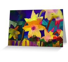 Chalk Blocked Daffodils Greeting Card