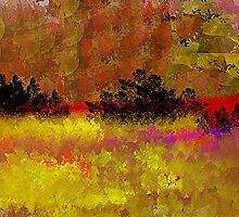 Golden Landscape with Reds and Purple by Jessielee72