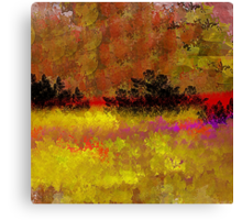Golden Landscape with Reds and Purple Canvas Print