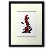 UK United Kingdom Flag Map Framed Print