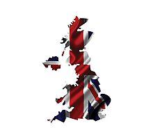 UK United Kingdom Flag Map Photographic Print