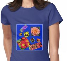 Crazy Summer Flowers Collage Womens Fitted T-Shirt