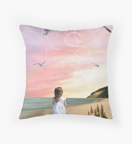 Once upon a sandcastle Throw Pillow