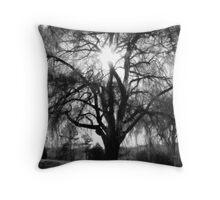 Sun through a Willow Tree - Black&White Throw Pillow