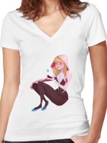 Spider-Gwen Women's Fitted V-Neck T-Shirt