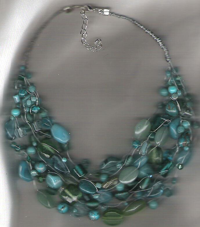 Blue Teal and Turquoise Necklace by honeyjewel