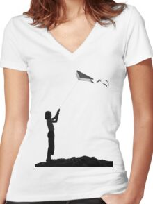 The little girl with the kite Women's Fitted V-Neck T-Shirt