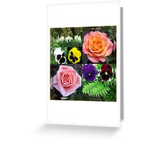 Roses and Pansies Collage Greeting Card