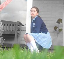 green grass, blue dress, white clouds by Elysia