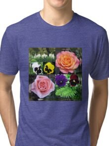 Roses and Pansies Collage Tri-blend T-Shirt