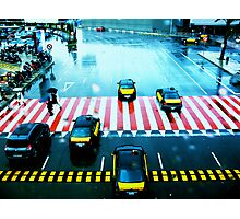 Cabs & the Candy striped crosswalk Photographic Print